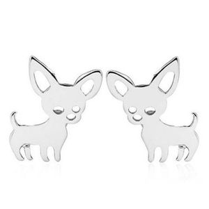 Silvertone Chihuahua Dog Stud Earrings